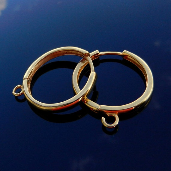 LARGE 26.5mm Vermeil 24k gold over Sterling Silver Hoops Earrings Lever Backs silver ear wires high quality