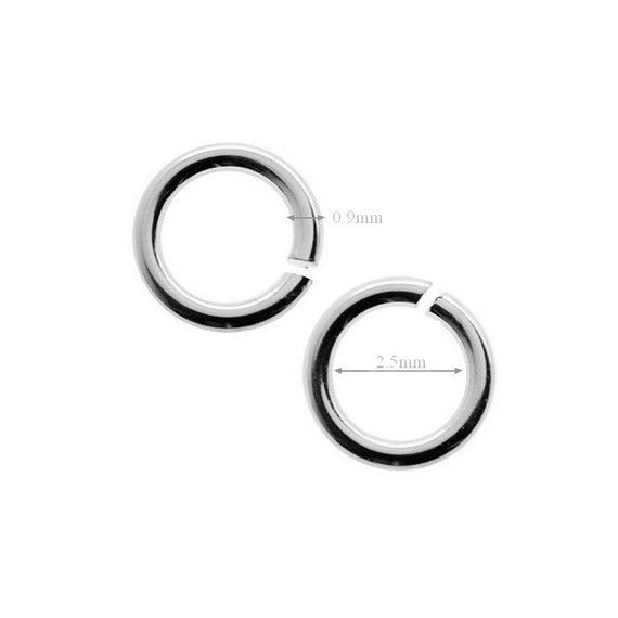 10pcs Sterling Silver Jump Rings Open Jumpring 2.5mm Inside Wire 0.9mm 19 Gauge Jewelry Making Beading