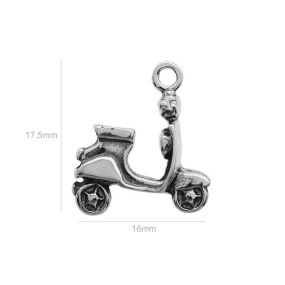 Sterling Silver Charm scooter Charm Charms Pendants for Bracelet and Pendant Jewelry Making & Beading Charms