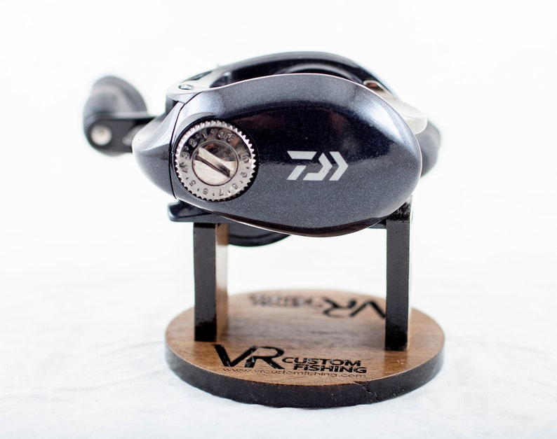 Walnut Wood - Custom Fishing Reel Display Stand for Collectors or Retail -  Baitcaster/Spinning - Full Custom Design or Plain