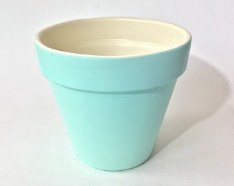 "Terra Cotta 6 Inch Flower Pot | Hand Painted Two Tone: Ocean Mist Aqua & Ivory | 3"" Base / 6"" Top / 5"" Height 