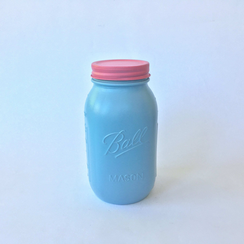 French Blue Mason Jar Quart Fuchsia Metal Lid Mason Jar | Etsy