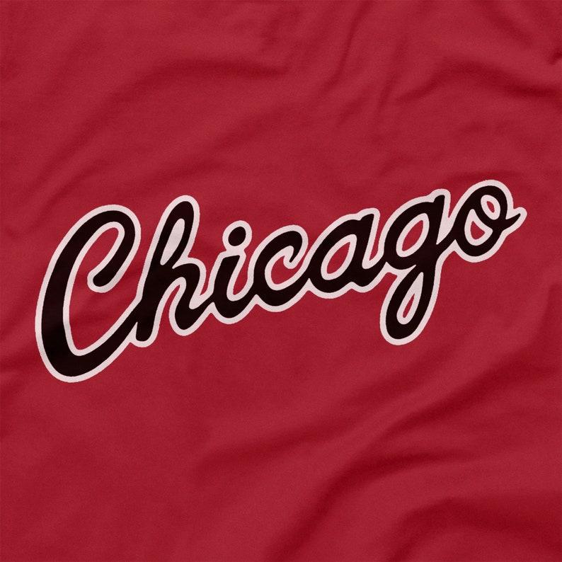 Chicago Bulls Shirt Script Logo Red T Size XS S M L XL 2XL 3XL 4XL Black Cursive Letters City Name NBA Michael Air Jordan Rookie Icon Emblem