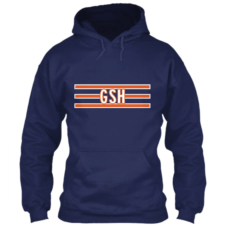 separation shoes 63544 d138f Chicago Bears Hoodie GSH Logo Navy Blue Size S M L XL 2XL 3XL 4XL 5XL  George Stanley Halas Initials Emblem Orange Stripes NFL Football Icon