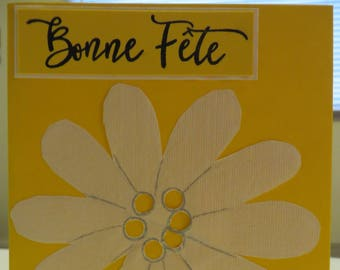 holiday card - good holiday card - card - flower card - Daisy yellow card - greeting card-birthday handmade card