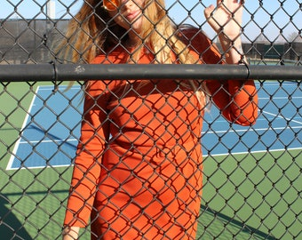 Vintage / Orange Ribbed Maxi Dress