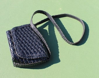 Vintage / Woven Leather Crossbody Purse
