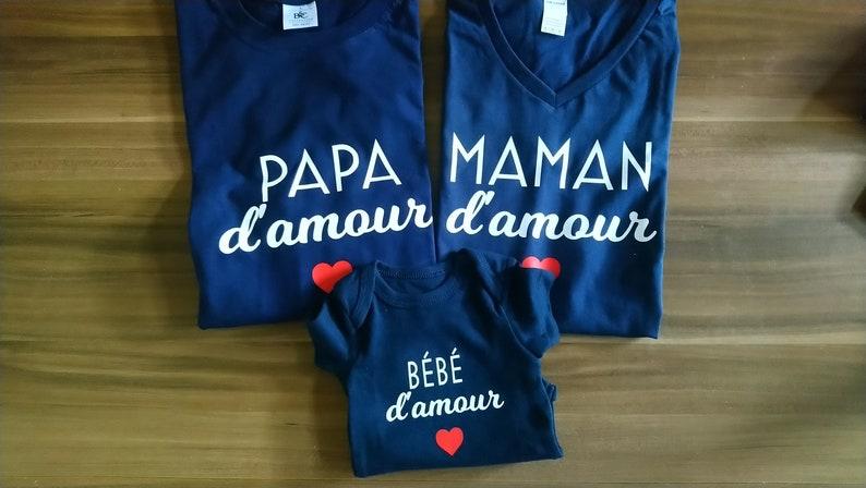 T-shirt et body Maman d'amour papa d'amour bébé image 0