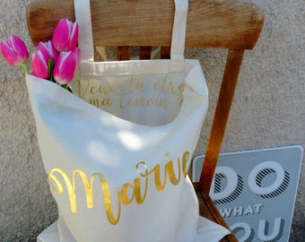 """Personalized first name bag, """"Will you be my witness?"""""""