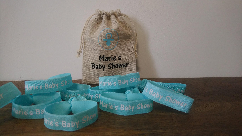 elastiques bracelets baby shower baby shower cadeau etsy. Black Bedroom Furniture Sets. Home Design Ideas