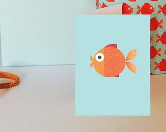 Goldfish Mini Greetings Card | modern card | fish card | adult card | blank inside