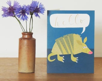 Armadillo Mini Greetings Card | a note to say | animal card | blank inside