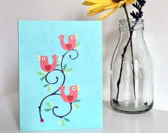 Song Birds Mini Greetings Card | bird lovers | blank inside