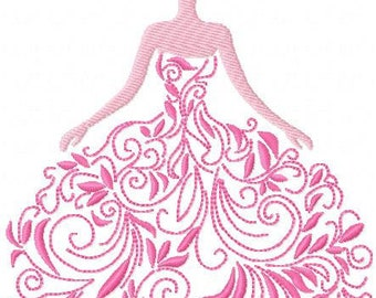 Embroidery pattern dress Princess or bride embroidery princess design