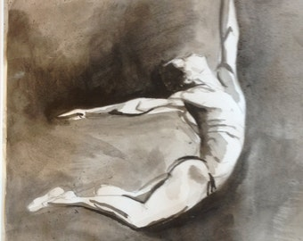 Male figurative ballet dance study, original ink painting and collage on A1 paper.