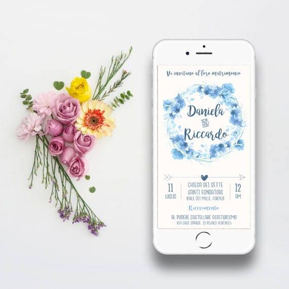 Partecipazioni Matrimonio Whatsapp.Invito Digitale Floreale Per Matrimonio Nozze Etsy