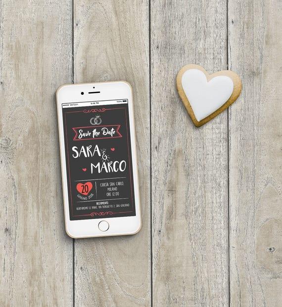 Partecipazioni Matrimonio Whatsapp.Save The Date Matrimonio Invito Digitale Matrimonio Invito Etsy