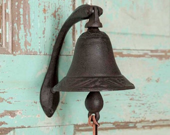 Butterfly Dinner Bell Cast Iron Wall Mounted Antique Style Rustic Finish