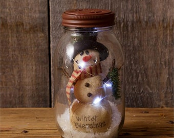 Winter Blessings Snowman in Glass Jar LED