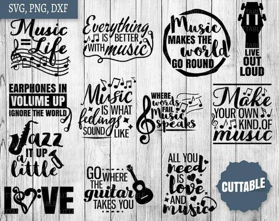 Musical Svg Bundle Music Quote Bundle Cut Files 12 Musician Etsy