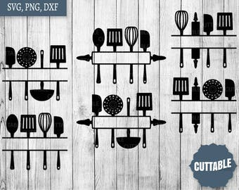 Kitchen Cut files, Kitchen monogram files, cooking svg cutting files - commerical and personal use - kitchen sign art vinyl svg cut files