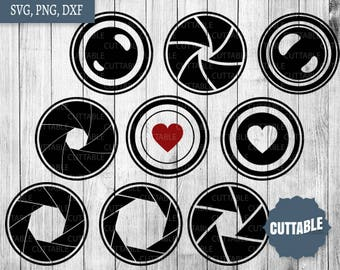 Camera lenses cut svg files, SVG print and cut camera monogram, camera lenses svg cut files - personal / commerical use - dxf camera lens