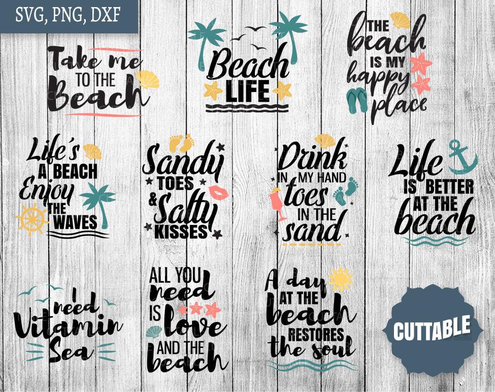 Beach SVG Bundle beach quote svg pack cut files 10 love ...