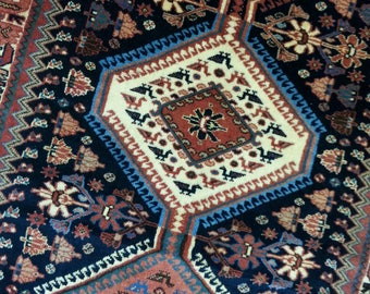 Old rug Jalameh 12.8 × 2.7 ft 390 × 80 cm handmade, very fine, runner