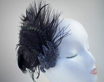 Flapper Fascinator, Feather Fascinator, Hair Clip, Gatsby, Prom, Bridal, Black Hair Clip, Beaded Applique