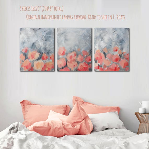 20 x 48 Rosa Leinwand Wandkunst Pink und grau | Etsy