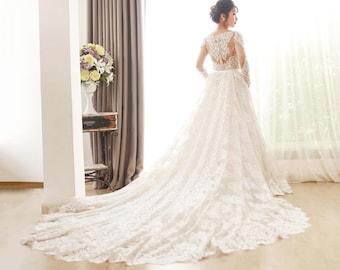 Train wedding dress etsy detachable lace train detachable wedding train detachable bridal train lace train wedding junglespirit Image collections