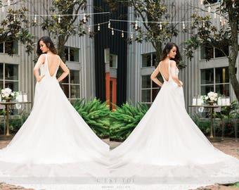 Garden Detachable Train Wedding Dresses
