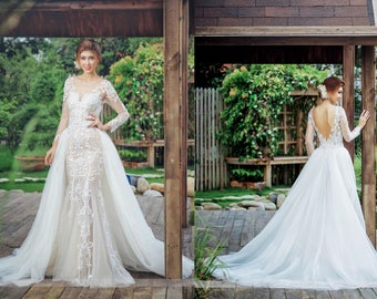 Wedding Dresses with Removable Trains