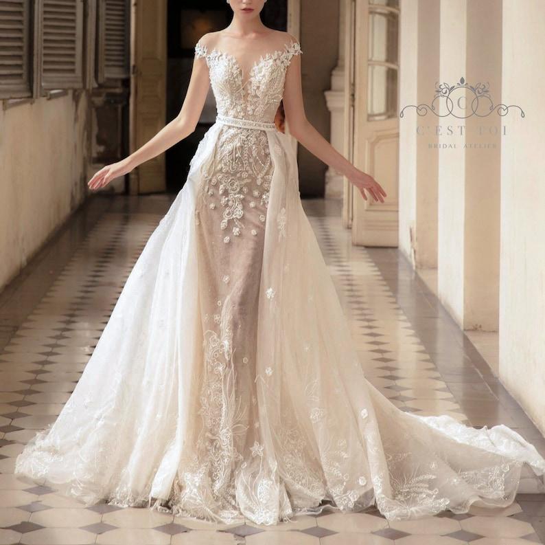 Detachable Wedding Dress.T14 Detachable Bridal Overskirt Lace Bridal Overskirt Wedding Dress Overskirt Removable Tulle Overskirt Removable Bridal Overskirt