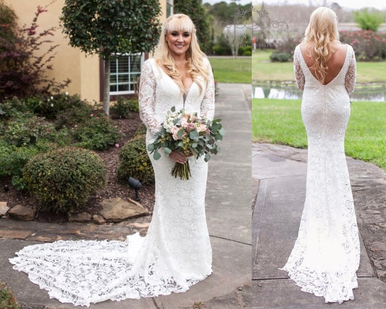 8e3f02bd4378 D23Long Sleeve Wedding Dress Long Sleeve Bridal Dress Lace | Etsy