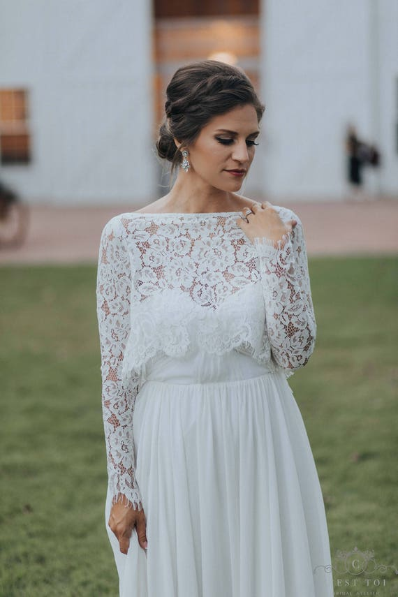 B15 Long Sleeve Bridal Dress Topper Bridal Topper Wedding Dress Topper Chantilly Lace Boleros Lace Boleros Wedding Bolero Toppers