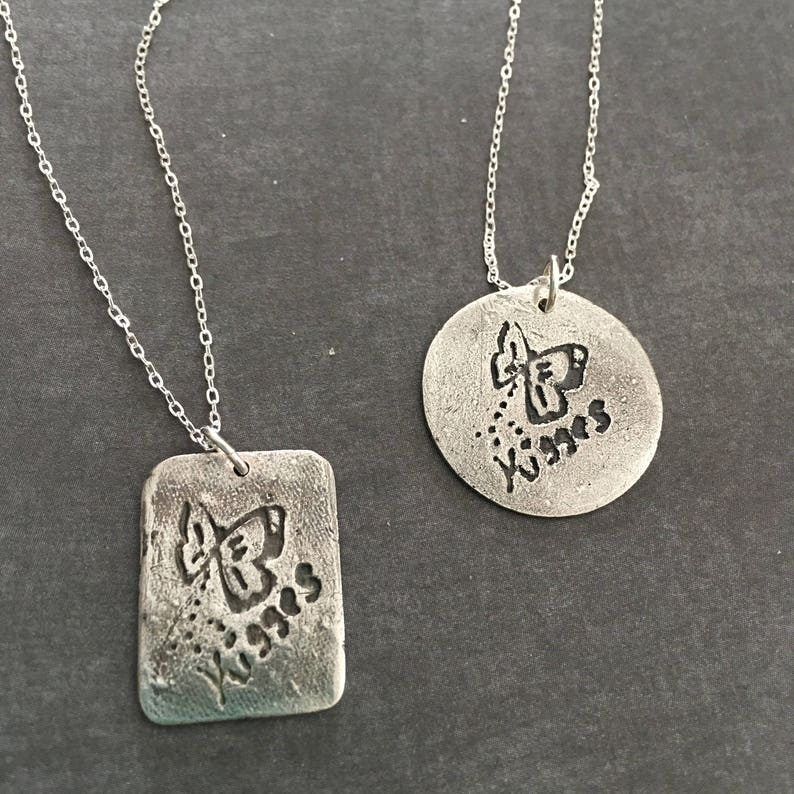 Sterling silver sentiments pendant gift for her butterfly kisses handwriting jewelry personalized necklace keepsake girls jewelry