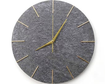Large Wall Clock 38cm 15in Natural Stone Surface Modern Grey Gold Color Minimalist Design Art