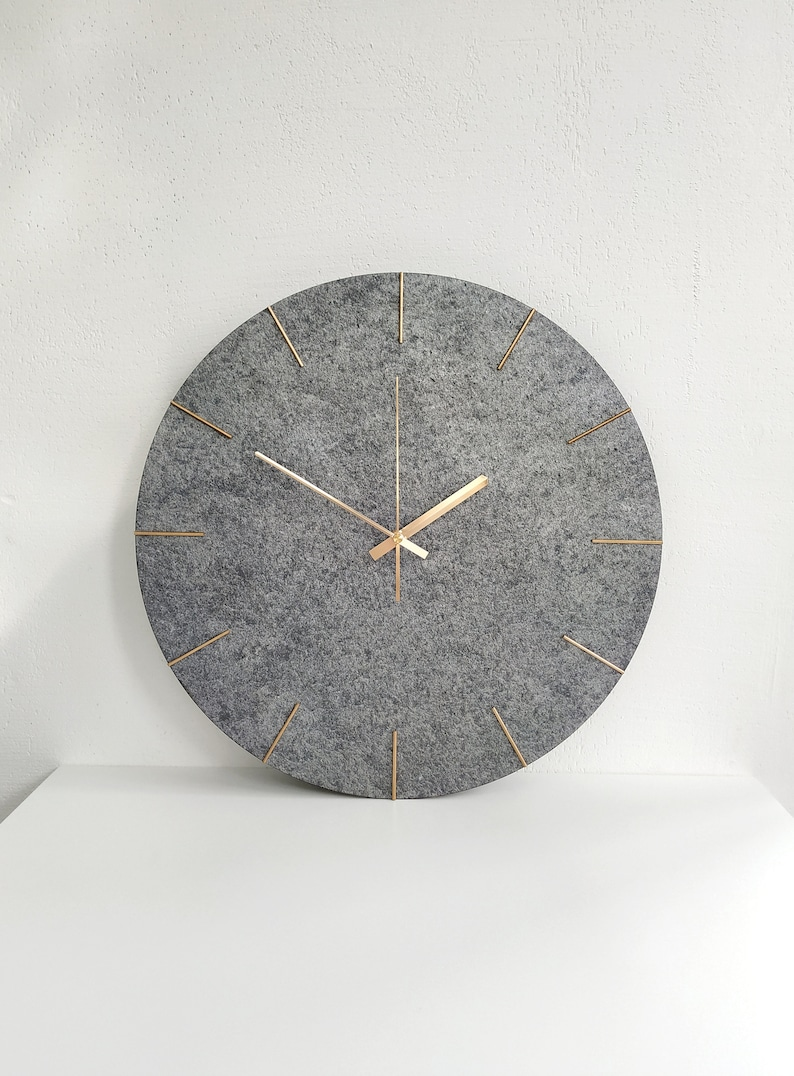 Large Wall Clock Stone Surface Modern Clock Grey Gold Color image 0