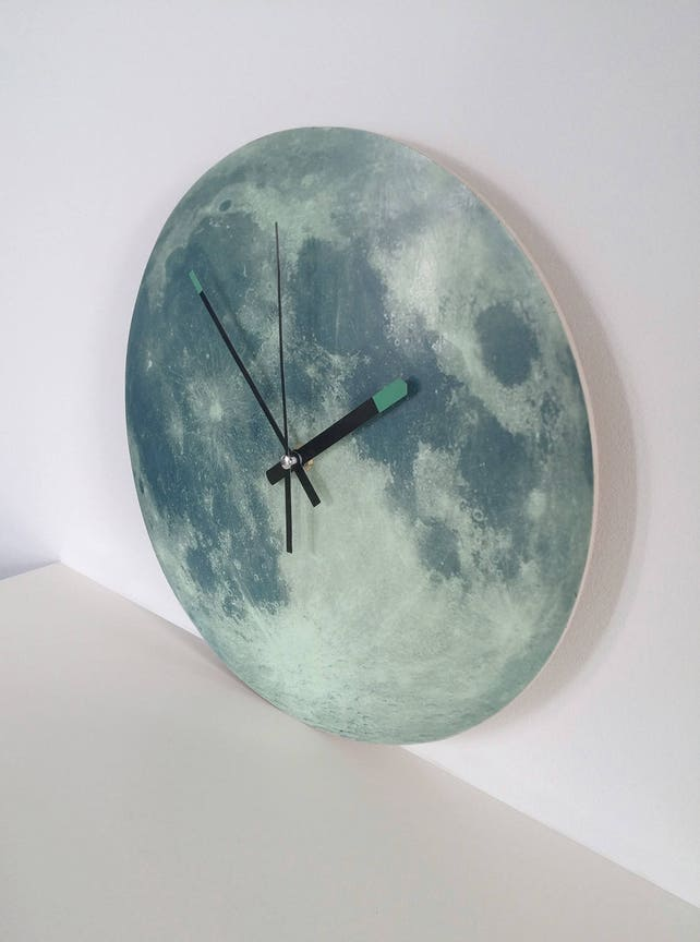 Glowing Moon Wall Clock Glow In The Dark Fluorescent Home Etsy