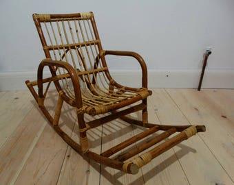 Vintage Children's Bamboo/Wicker Rocking Chair