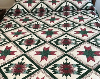 Queen Comforter or King Quilt, 2 Stars, Machine Quilted
