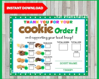 graphic regarding Girl Scout Cookie Thank You Notes Printable titled Cookie get type Etsy
