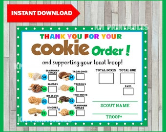 image relating to Girl Scout Cookie Thank You Notes Printable called Cookie purchase sort Etsy