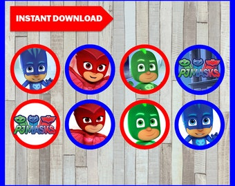 Printable Pj Masks Cupcakes Toppers Instant Download, Pj Masks Party  Toppers, Printable Pj Masks Toppers