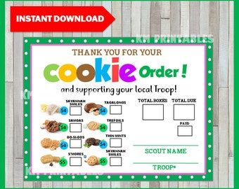 graphic relating to Girl Scout Cookie Thank You Notes Printable called Cookie buy variety Etsy