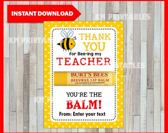 image regarding You're the Balm Teacher Free Printable identify Youre the balm Etsy