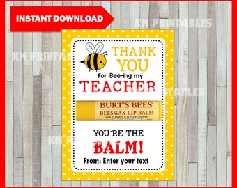 image regarding You're the Balm Teacher Free Printable identify Youre the balm Etsy