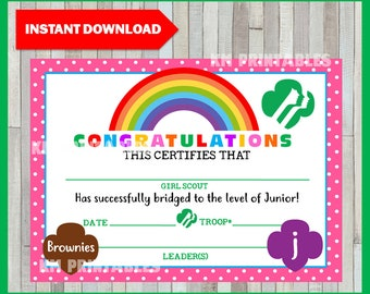 picture relating to Girl Scout Certificates Printable Free named Bridging certification Etsy
