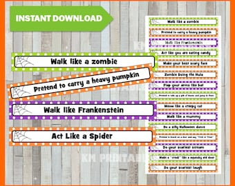 halloween charades party game printable pdf instant download